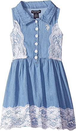 Lace Overlay Woven Dress (Little Kids)