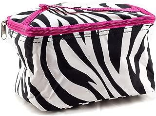 Uni Collections 7 Inch Cosmetic Bag (Zebra Print Pink Trim)