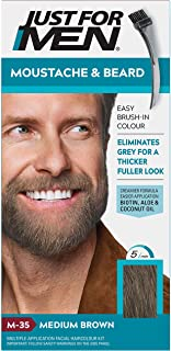 Just For Men - Tinte de barba y bigote para hombre color marrón medio (M35) 1 paquete