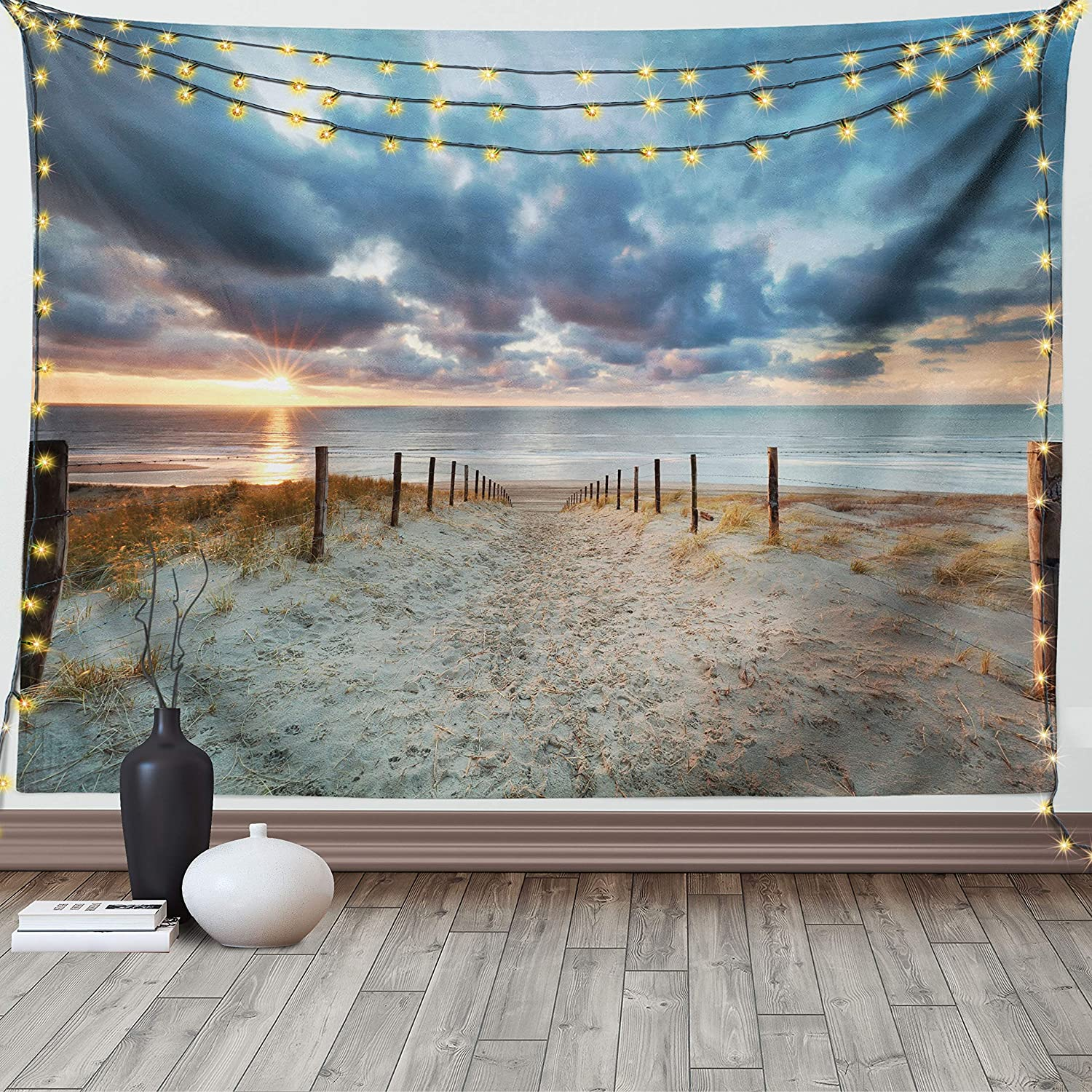 Cheap mail order specialty store Ambesonne Beach Tapestry Recommendation Seaside North Walking Holland Netherla
