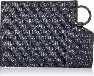 Armani Exchange Men's Wallet + Keychain Accessory Set, navy, UNI