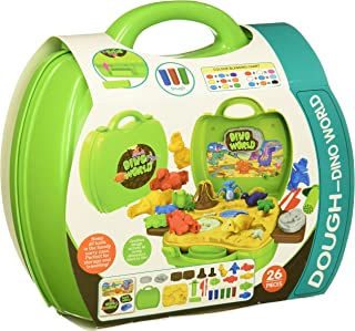 Master Toys & Novelties 26 pc. Dino World Play Set with Carry Case - Includes Play Dough