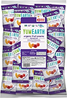 YumEarth Organic Vegan Fruit Snacks, 0.7 Ounce Snack Packs, 43 pack (Pack of 1) - Allergy Friendly, Non GMO, Gluten Free, Vegan (Packaging May Vary)