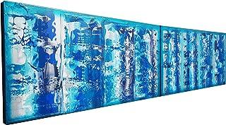 Azul abstracto A608 - díptico colorido empaste arte, pinturas abstractas originales del artista Ksavera