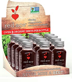 Red Ace 100% Organic Beet Juice Shots, Non GMO, 12 Count
