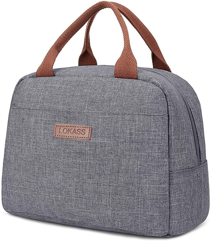 Lunch Bags For Women Double Deck Wide Open Insulated Lunch Box With Large Capacity Cooler Tote Bag With Removable Shoulder Strap Lunch Organizer For Men Outdoor Work School Gray