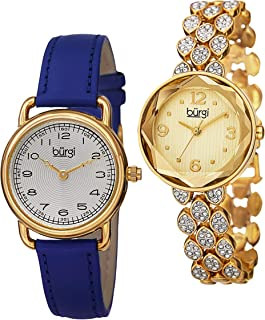 Burgi Women's Bur133Yg Classic Blue Leather Strap & Swarovski Crystal Accented Faceted Yellow Gold Bracelet 2 Watch Boxset, Analog Display