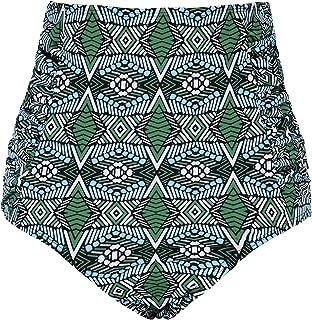 Women's Vintage High Waisted Bikini Bottom Shirred Tankini Briefs
