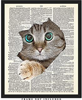 Cat Tearing Through The Page Dictionary Wall Art Print: Unique Room Decor for Boys, Men, Girls & Women - (8x10) Unframed Picture - Great Gift Idea Under $15 for Cat and Animal Lovers