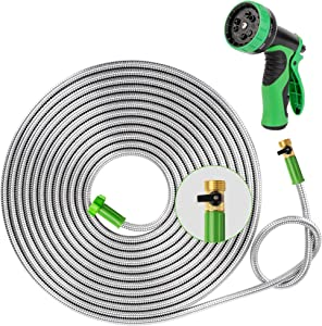 Yanwoo 304 Stainless Steel 60ft Garden Hose with Sprayer Nozzle and ON/OFF Valve, Lightweight, Kink-Free, Heavy Duty Outdoor Hose (60ft)