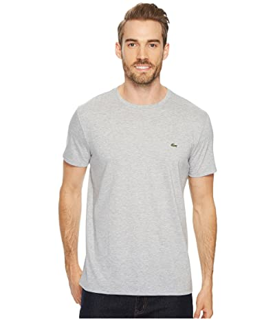 Lacoste Short Sleeve Pima Crew Neck Tee (Silver Chine) Men