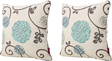 Christopher Knight Home 301589 Ippolito Fabric Pillows, 2-Pcs Set, White And Blue Floral