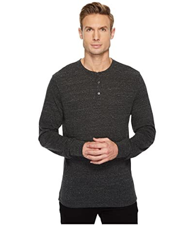Threads 4 Thought Tri-Blend Long Sleeved Henley (Heather Black) Men