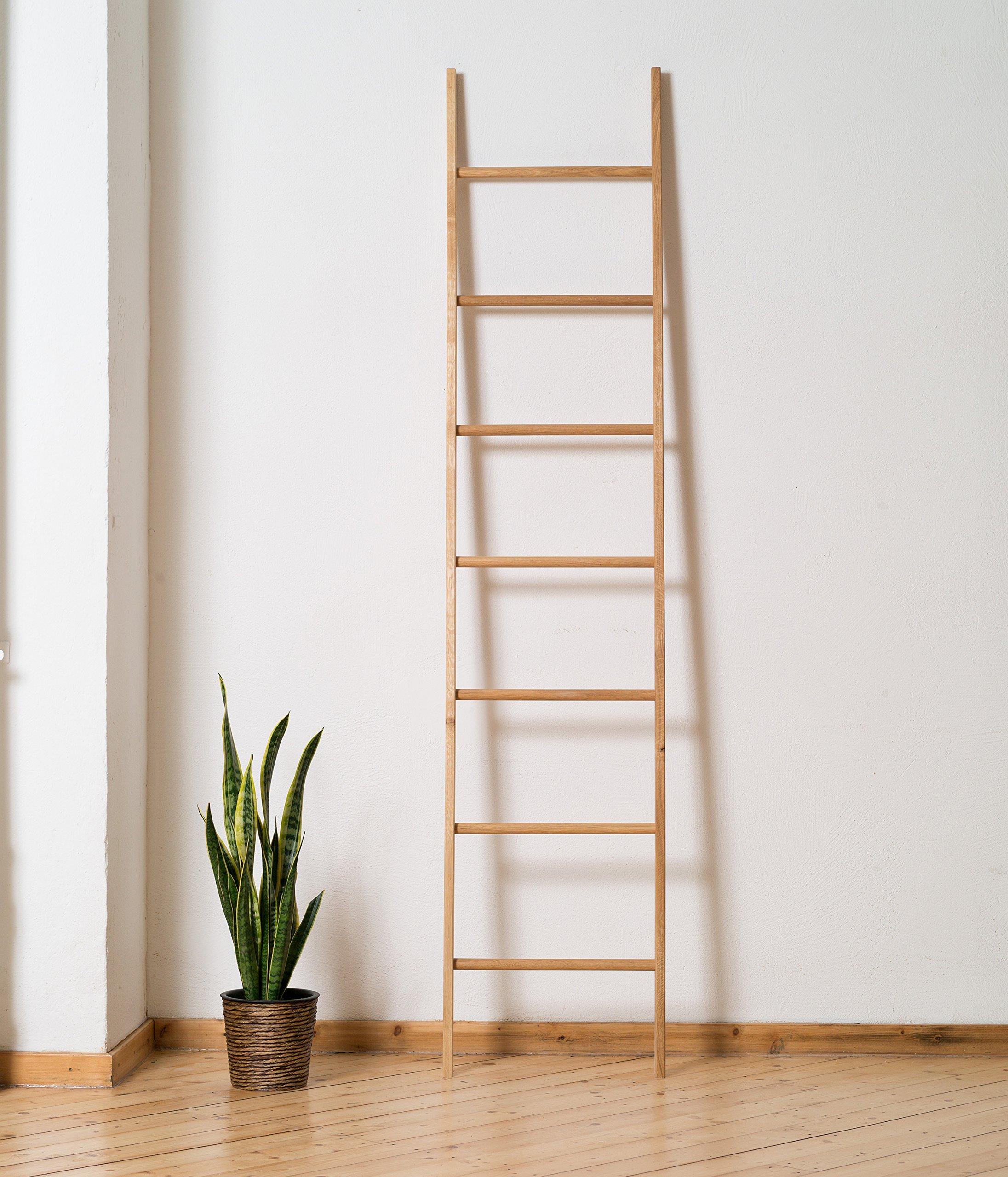Escalera 212cm de Madera Maciza Roble (hecho en Alemania) Decorativa o como Perchero: Amazon.es: Hogar