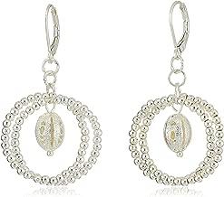 Napier Silver-Tone Bead Orbital Drop Earrings