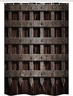 Ambesonne Medieval Stall Shower Curtain, Medieval Wooden Castle Wall and Metal Gate Greek Style Mid-Century Design Art Print, Fabric Bathroom Decor Set with Hooks, 54 W x 78 L Inches, Grey