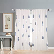 Linenwalas 2 Piece Hand Block Blue Leaf Print Cotton Curtains for Door 7 feet (Set of 2) - White