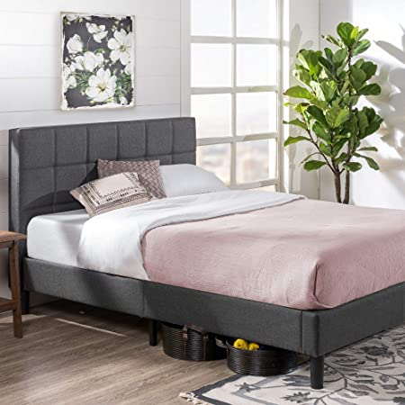 Amazon Com Zinus Lottie Upholstered Platform Bed Frame Mattress Foundation Wood Slat Support No Box Spring Needed Easy Assembly Grey Queen Furniture Decor