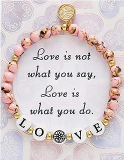 BONALUNA My Wish Love Mantra 6mm Pink Color Stone Meditation & Healing Bracelets for Women