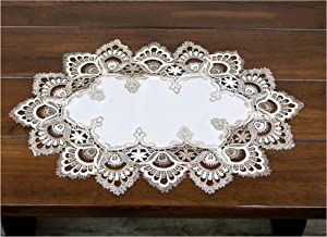 Lace Placemat Dresser Scarf Doily Cocoa Earth Tone and White Jacquard European Peacock Lace Placemat 14 x 21 Inches