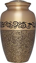 Bronze and Black Funeral Urn by Liliane Memorials- Cremation Urn for Human Ashes - Hand Made in Brass- Suitable for Cemetery Burial or Niche- Large Size fits remains of Adults up to 200 lbs - Montreau