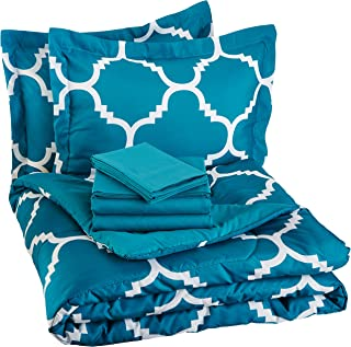 AmazonBasics 7-Piece Bed-In-A-Bag, Full / Queen Bedding Comforter Sheet Set, Teal Trellis, Microfiber, Ultra-Soft