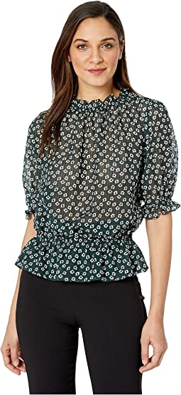 Short Sleeve Flower Etching Ruffle Hem Blouse