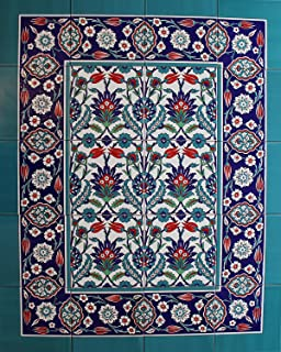 "Turkish Iznik Floral Pattern Ceramic Tile Mural Panel 32""x40"""