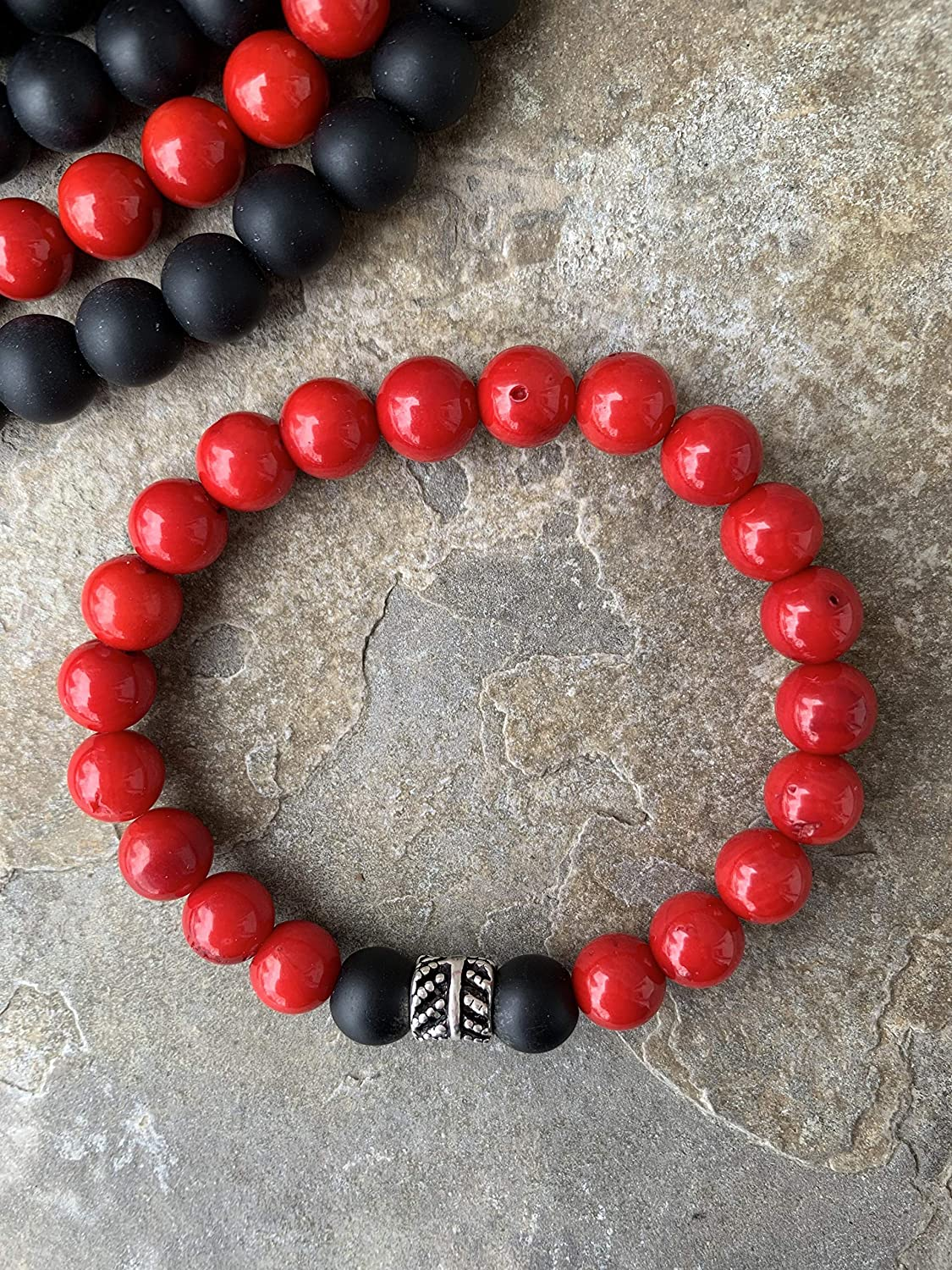 Black Onyx and Sea Bamboo Red Stretch Max 67% OFF Coral Bracelet wi Gemstone Very popular
