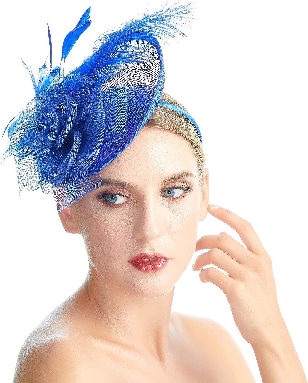 SACASUSA Women Feather Fascinator Mesh Net Sinamay Hat Headband