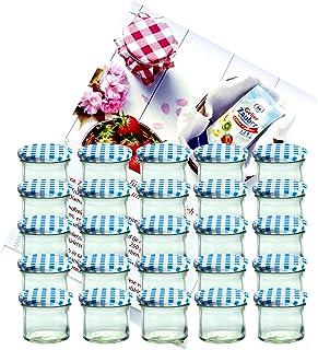 MamboCat Lot de 25bocaux – Goulot aussi large que le fond – Contenance de 125 ml – To 66 – Avec couvercle bleu à carreaux...