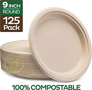 """Stack Man 100% Compostable 9"""" Paper Plates [125-Pack] Heavy-Duty Quality Natural Disposable Bagasse, Eco-Friendly Made of Sugar Cane Fibers, 9 inch, Brown"""