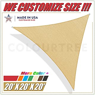 ColourTree 20' x 20' x 20' Sand Beige Triangle Sun Shade Sail Canopy Awning Fabric Cloth Screen - UV Block UV Resistant Heavy Duty Commercial Grade - Outdoor Patio Carport - (We Make Custom Size)