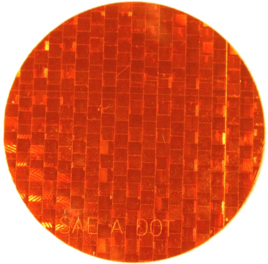 ifloortape DOT-SAE Amber Dot 3 Inch Round High Visibility Reflective Stick On Reflector (4 pack)