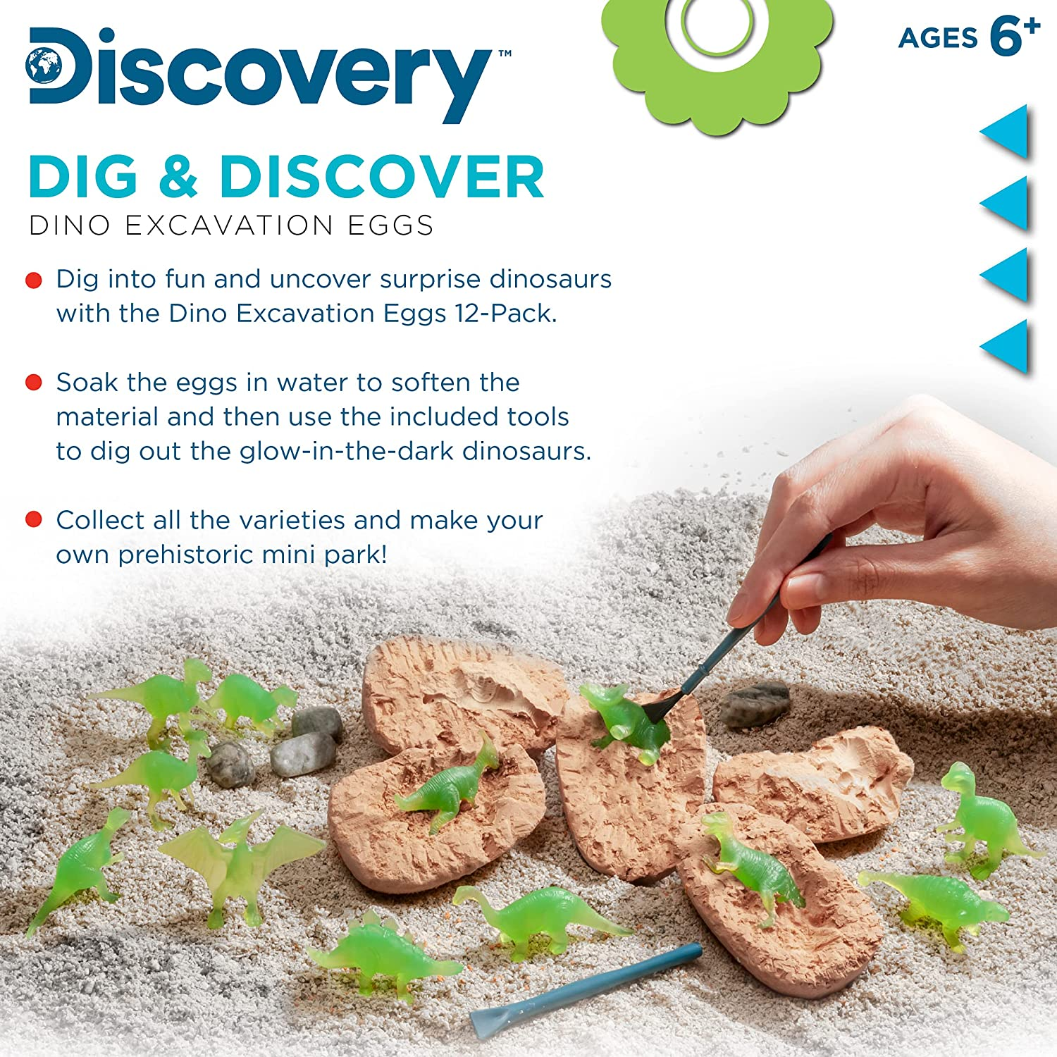 Discovery Kids Dig and Discover Dino Excavation Eggs, 12 Pack Mystery Set,...