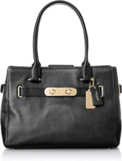COACH Swagger Carryall Satchel in Polished Pebbled Leather in Black 36488