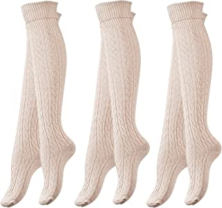 3 Pack of Women's Knee High Cotton Boot Socks Cable Patterned by Vincent Creation