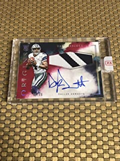 2016 Panini Origins Red Dak Prescott Rookie Sp 19/99 On Card Auto 2 Color Jersey - Panini Certified - Football Slabbed Autographed Rookie Cards