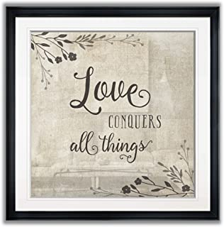 Wexford Home PF023-18456-2424BF Love Conquers Flower Pictures Framed Wall Art Abstract Giclee Prints Landscape Painting Modern Home Decor, 24X24, Black