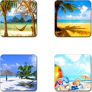 Summer beach pattern square coaster set - Made of recycled rubber - set of 4