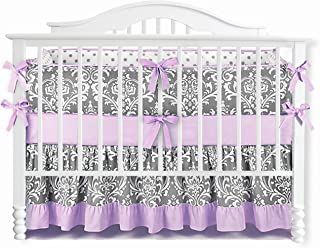 Sahaler Baby Crib Bedding Set for Girls Boys   7 Pieces Set of Floral Nursery Bedding   Baby Blanket & Fitted Crib Sheets & Skirt & Bumper - White Floral on Grey/Ruffle Purple