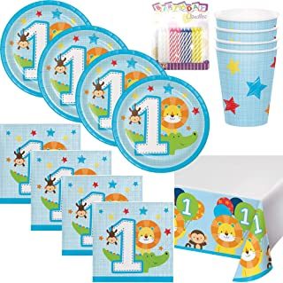 One is Fun ! Boys Birthday Theme 1st Party Supplies Pack (Serves-16) Dessert Plates, Beverage Napkins, Cups and Table Cover - First Zoo Party Supply Tableware Set Kit Includes Birthday Candles