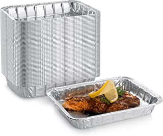 """DCS Deals Aluminum Foil Weber Grill Compatible Grease Drip Pans (50-Pack) – Bulk Package of Durable Cooking Trays - Eco-Friendly and Recyclable BBQ Replacement Catch Pan – Standard Size 7.5"""" x 5"""" Inch"""