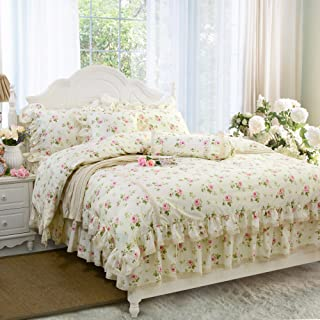 FADFAY Rosette Floral Print Duvet Cover Set Princess Lace Ruffle Bedding Set for Girls 3 Pieces Twin Extra Long Size