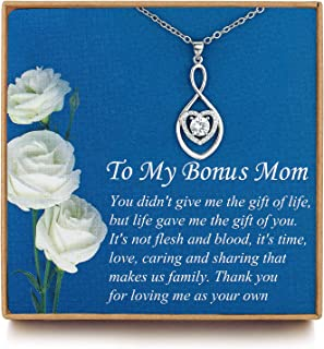 Vanjewnol Gifts for Mom, Bonus Mom Necklace from Daughter/Son, Infinity Heart Necklaces for Women, Mothersday Gift for Stepmom/Mother in Law N01D