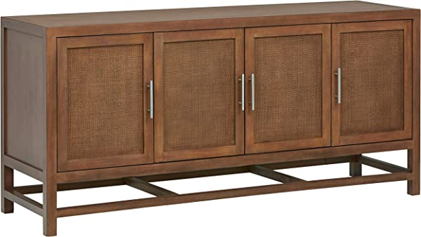 Stone Beam Traditional Buffet Storage Cabinet 68 Inch Brown