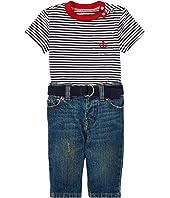 Ralph Lauren Baby T-Shirt Belt & Jeans Set (Infant)