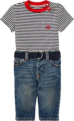 Ralph Lauren Baby - T-Shirt Belt & Jeans Set (Infant)