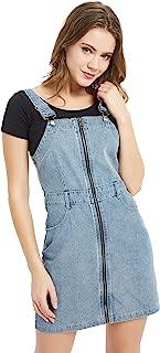Tronjori Women's Zip Front Classic Adjustable Strap Overall Denim Skirt Dress