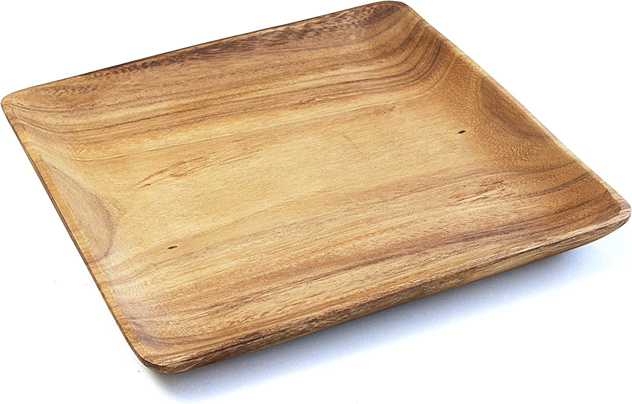 Pacific Merchants Acaciaware 10 Inch Acacia Wood Square Serving Tray Set Of 4 Brown 10 Inch Set Of 4
